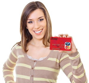 Woman holding Benny card_web